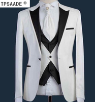 White Black Fashion Terno Masculino Tailor Made Wedding Prom Party Formal Slim Fit Men Suits (Coat Pant Vest Tie)