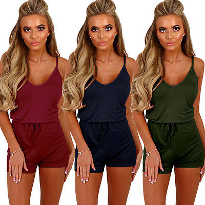 2020 New Fashion Women Sexy Ladies Sleeveless V-neck Spaghetti Strap High Waist Summer Hot Solid Holiday Beach Playsuit Jumpsuit