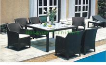 rattan square dining tables with cushion and tempered glass