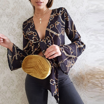 Chain Printed Blouse Crop Tops Deep V-Neck Lace Up  Blusas