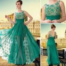 Brand Long Prom Dresses 2015 Vestido De Festa De Noche Green Silk Chiffon Beading Louisvuigon Woman Vestidos De Formatura