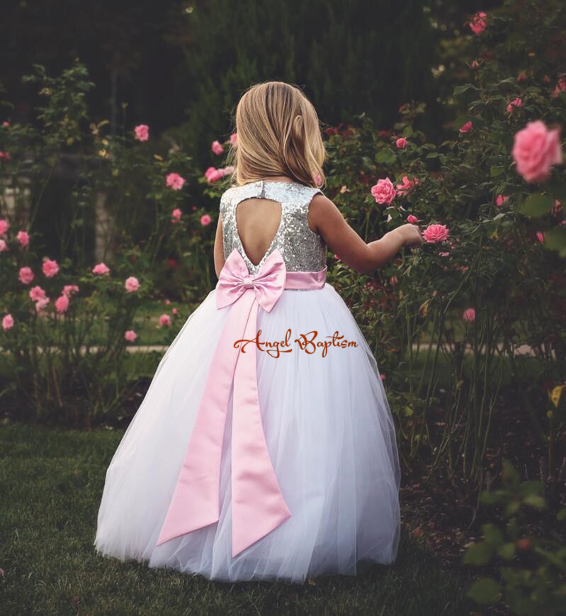 2017 Lovely pink flower girl dresses for Wedding Sequins lace tutu dress keyhole back baby girl party dress gown for communion lilac tulle open back flower girl dresses with white lace and bow silver sequins kid tutu dress baby birthday party prom gown