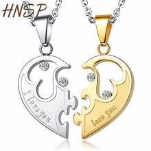 HNSP 2 Pices Alloy Gold Silver Colour Half heart shape Couple Pendant Necklaces Leather Rope Chain For Women Men Fashion jewelry