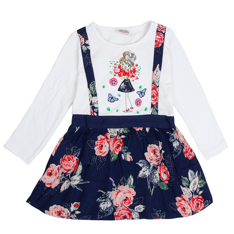 Kids Dresses For Girls Long Sleeve Flower Printed Cotton Spring Autumn Princess Tutu Dress Baby Girl Toddler Dress Clothes red blue kids dresses for girls long sleeve princess dress girls clothes flower bow decortion baby infant girl dress cheep price