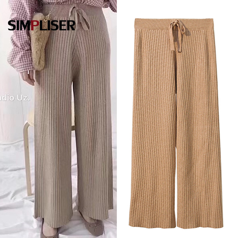 Women   Wide     Leg     Pants   Knitted Drawstring Loose Winter Trousers High Waist Casual   Pants   Pantalon Mujer Stretch 2019 New