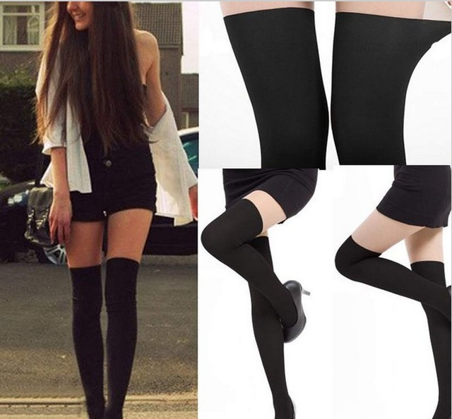 Nueva Preppy Style Mujeres Atractivas Negro Sheer Falso Manguera Medias Panti Medias de La Rodilla Calcetines