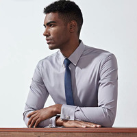 French shirt gentleman Comfortable Business Long Sleeve Men Slim Design Formal Casual Male