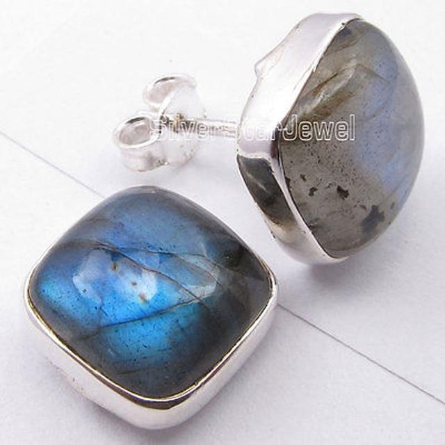 Silver BLUE FLASH LABRADORITE Cushion MODERN Studs Earrings 1.2 CM