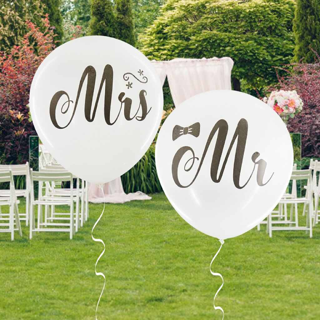 Mr Mrs Just Married Latex Balloons Rose gold Bride Printed Round Air Helium Balloon for Wedding Birthday Party Decor Supplies