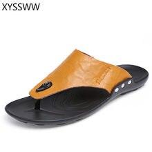 8d6779daf 2018 Summer Beach Flip Flops Men Pu Leather Slippers Male Flats Sandals  outdoor Rubber Thong Beach Shoes Men Leather New 38-45