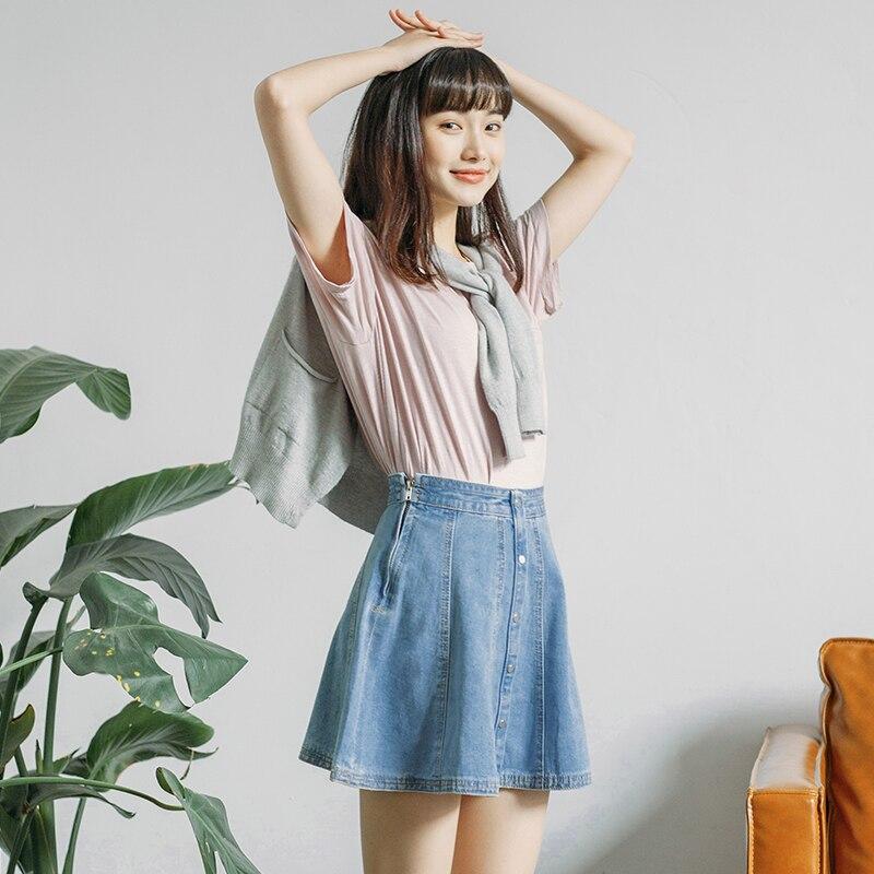 3088f9e9b44 Denim Skirt Women 2018 Spring Summer New Cute High Waist Button Line A line  Female Jeans Skirts Womens Side Zipper Lolita Skirt-in Skirts from Women s  ...