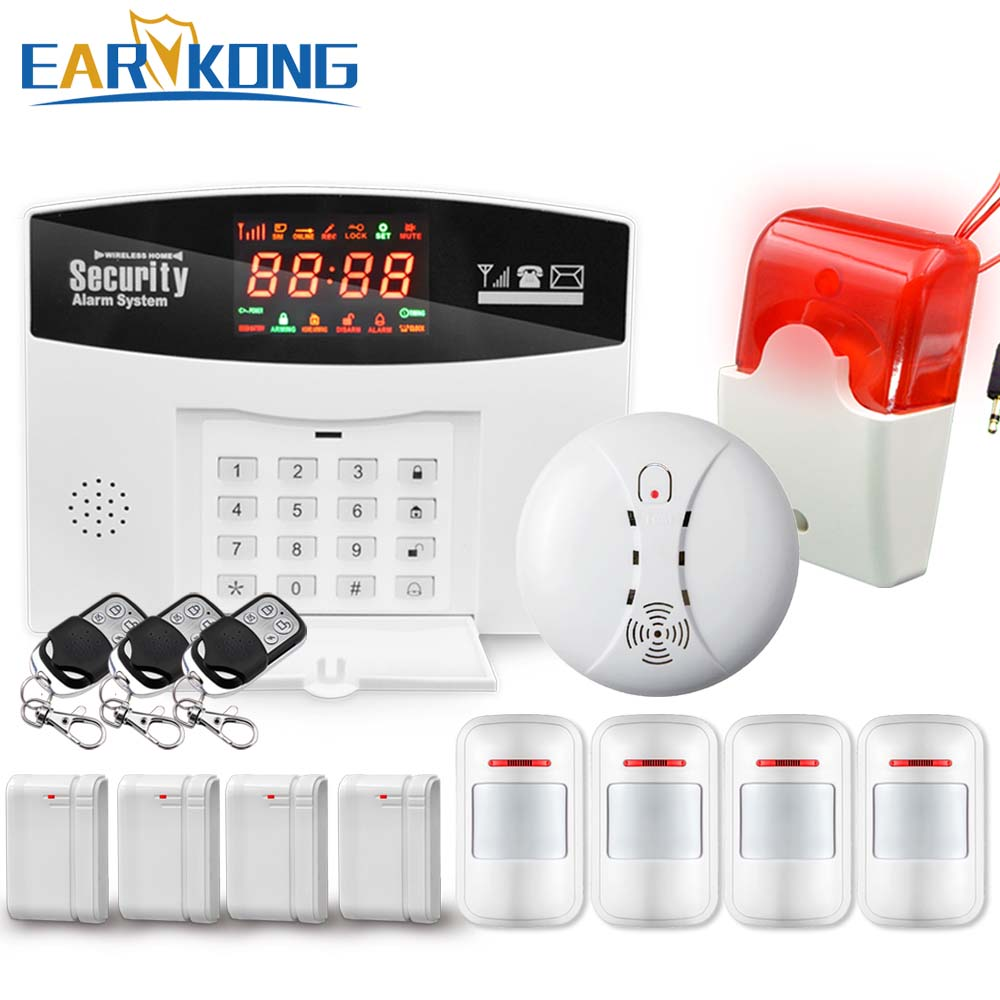 Hot Selling English/Russian/Spanish Wireless GSM Alarm System 433MHz Home Burglar Security Alarm System M2-2, Free Shipping free shipping dc12v 433mhz metal