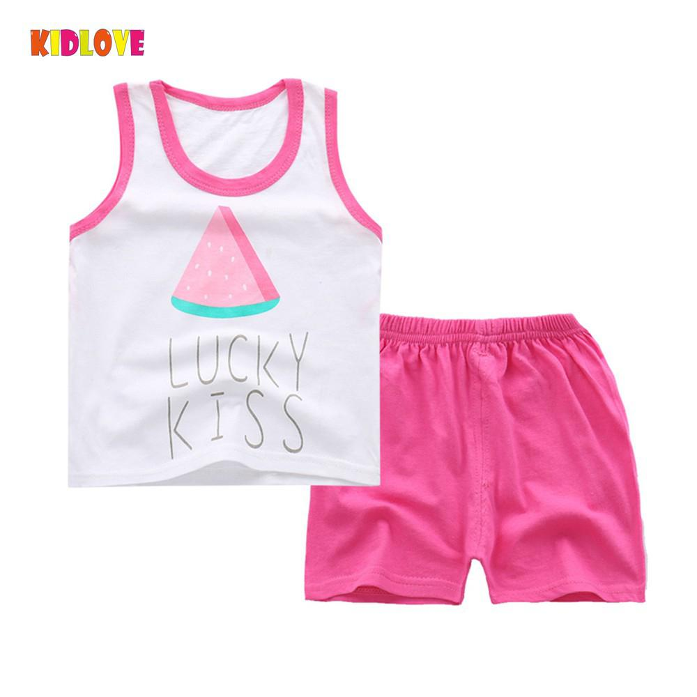 Kidlove 2018 new summer Children Baby Grils Clothing Sets 2pcs/Set Cartoon Pattern Suit Sleeveless Vest + Shorts Clothes Set 2017 new pattern small children s garment baby twinset summer motion leisure time digital vest shorts basketball suit