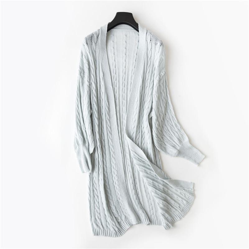 Women Cardigan Female Twisted Elegant Blue Khaki White Long Cardigan for Women Knitted Kimono Cardigans Sweater Para Mujer 2018