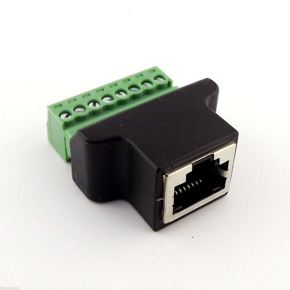 10pcs Ethernet Rj45 Female To Screw Terminal 8 Pin Cctv Digital Dvr 6 Din Wiring Diagram Adapter Connector In Cables From Computer Office On Alibaba