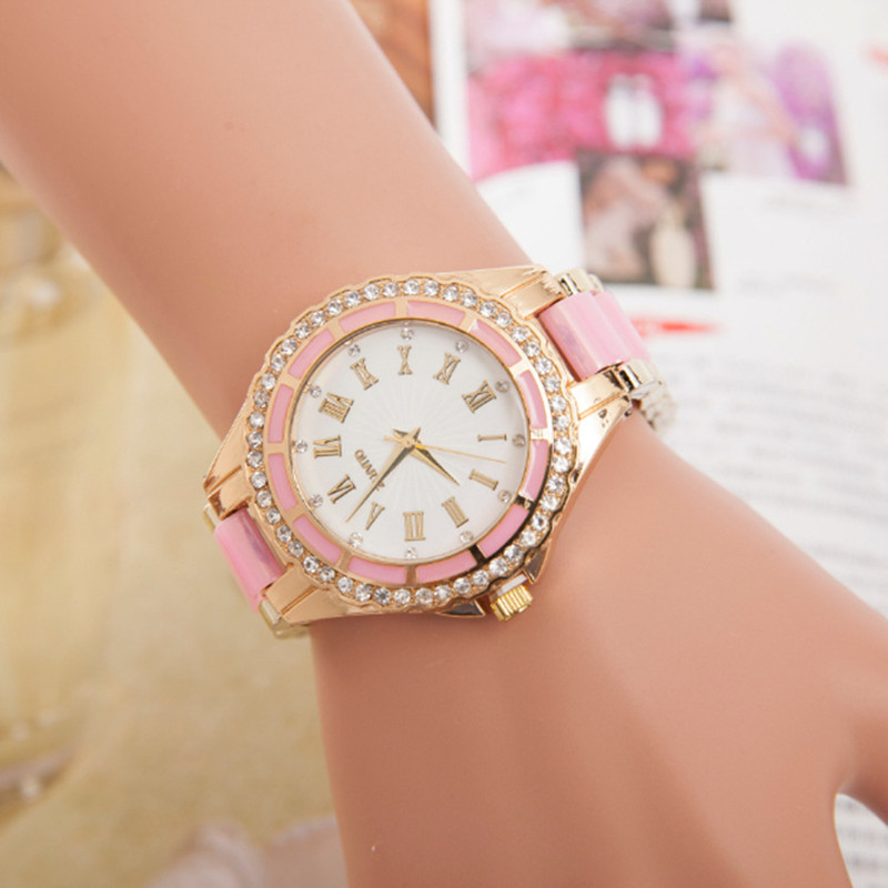 2017 Hot Style Famous Top Brand Women Luxury Colorful Rose Gold Watches Ladies Quartz Wrist Watch Alloy Fashion Quartz-watch