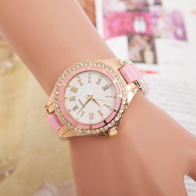 2018 Hot Style Famous Top Brand Women Luxury Colorful Rose Gold Watches  Ladies Quartz Wrist Watch Alloy Fashion Quartz-watch 06de63714d52