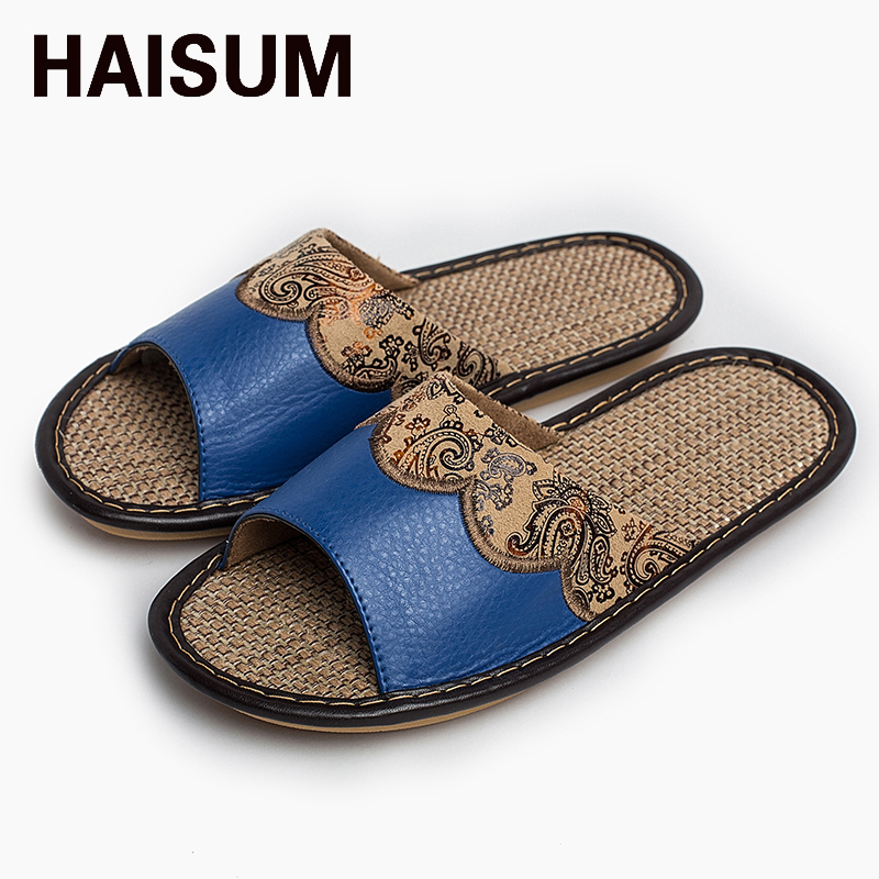 2017 Haisum Women's Summer Slippers-with Floral Pattern Leather Absorb Sweat Anti-slip Open-toed Linen House Slippers tb003 2016 spring cute cat lovers slippers fish head back open toed slip room flat slippers women slippers free shipping