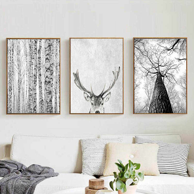 Modern Scandinavian Wall Art Grey White Tree Canvas Painting Deer Animal Posters and Prints Pictures for Living Room Decoration