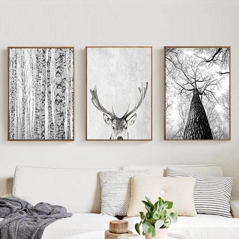 Big Deal  Modern Scandinavian Wall Art Grey White Tree Canvas Painting Deer Animal Posters and Prints Picture