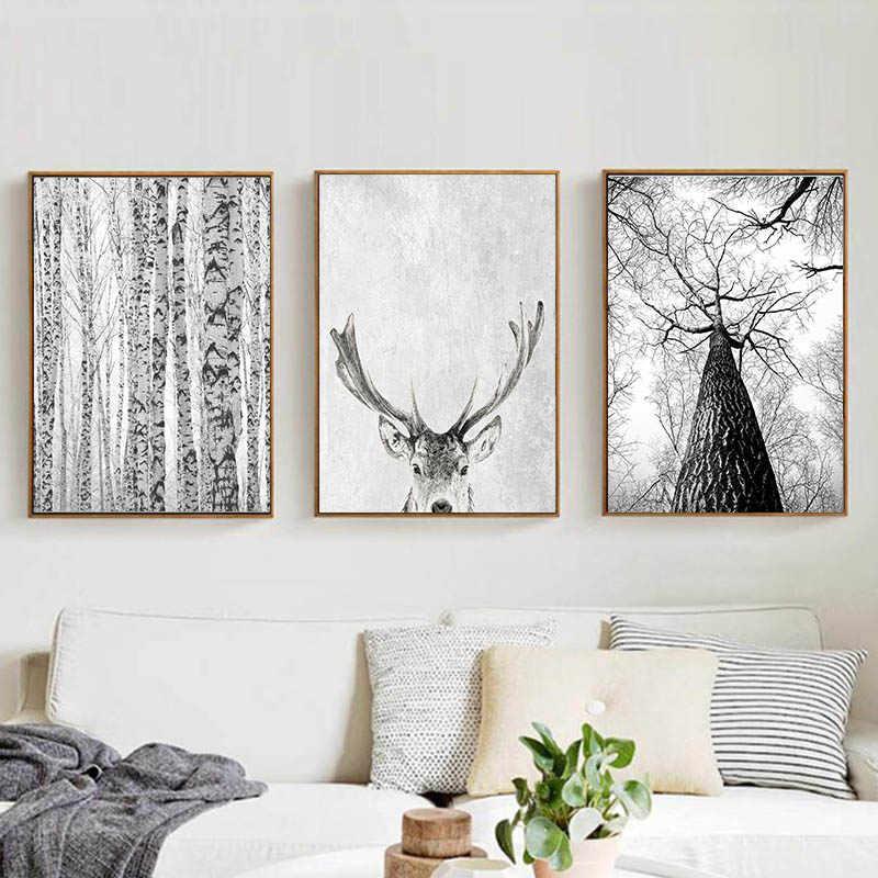 Modern Skandinavia Dinding Seni Abu-abu Putih Pohon Kanvas Lukisan Rusa Hewan Poster dan Cetakan Gambar untuk Dekorasi Ruang Tamu