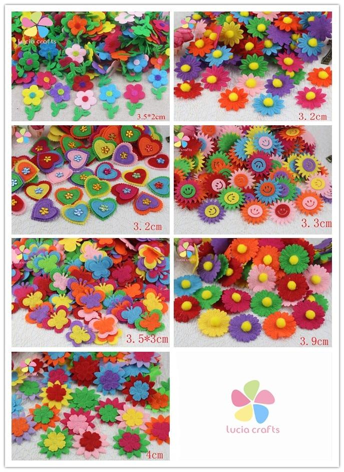 Lucia crafts Multi size option Random mixed colors flower felt scrapbooking decoration 24pcs/lot 081003033