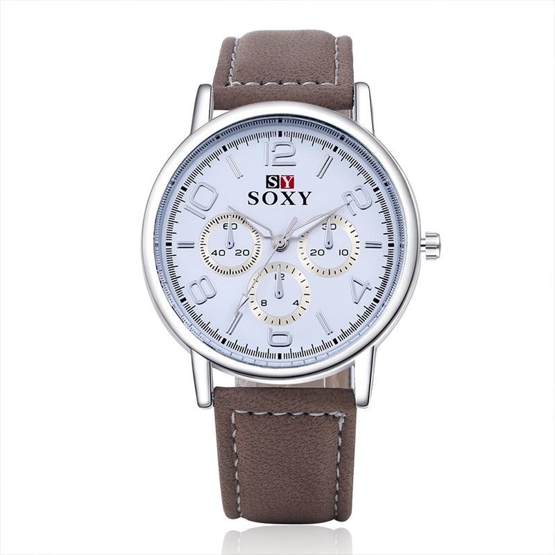 heren lederen riem horloge goedkope vrije tijd herenhorloge quartz - Herenhorloges
