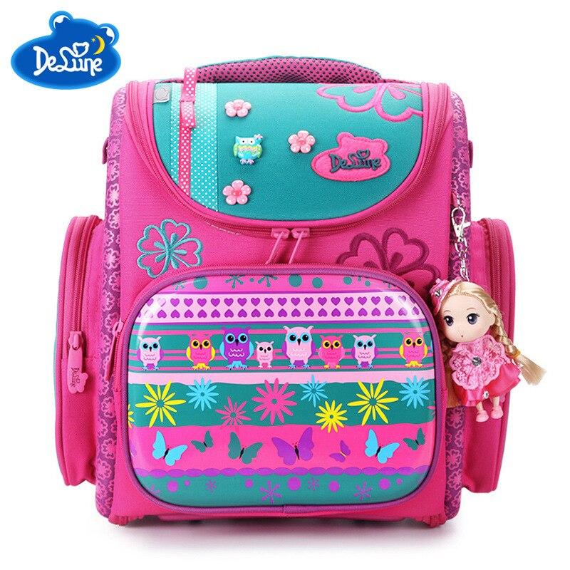 2018 Delune Brand Large Capacity Children Schoolbag Fashion Orthopedic School Bags for Girls Cartoon Dog Owl