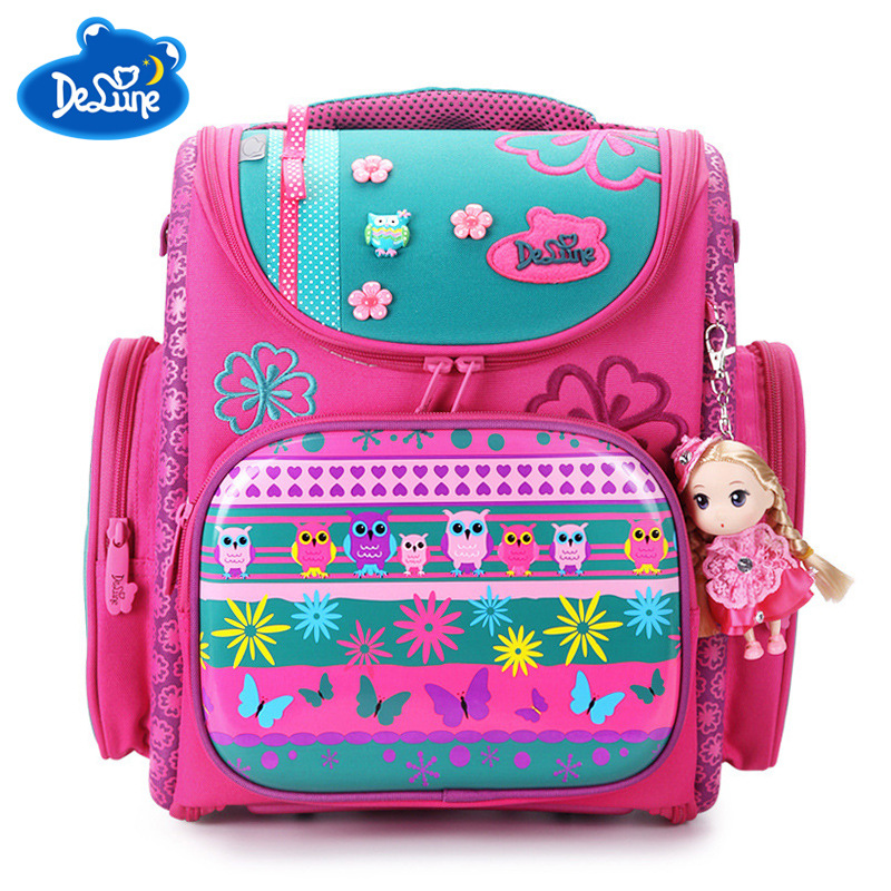 2018 Delune Brand Large Capacity Children Schoolbag Fashion Orthopedic School Bags for Girls Cartoon Dog Owl School Backpack Bag