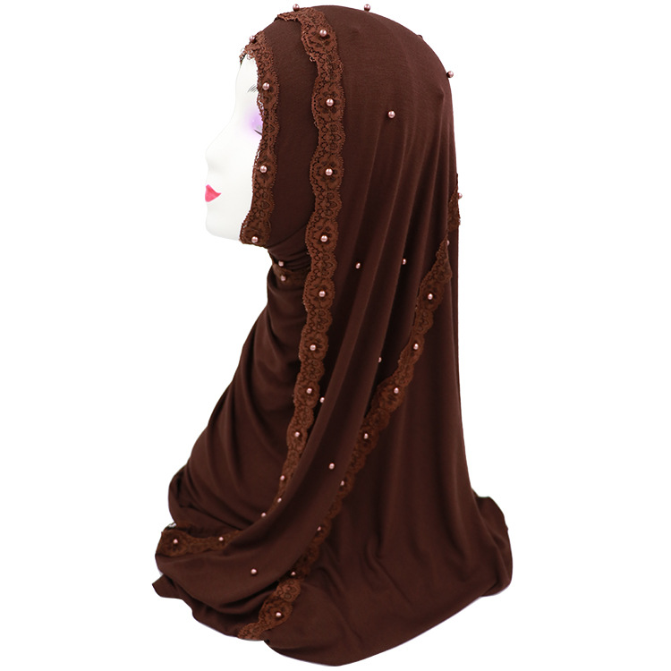 (12 Pieces/lot) New Design Lace Pearls Jersey Cotton Muslim Hijab Scarf Islamic Wrap Scarves Headscarf YM027