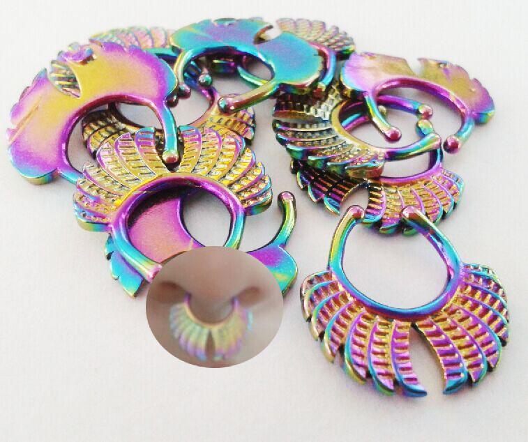Piercing de nariz falso-joyería de la nariz, anillo de septo falso del arco iris, anillo de nariz falsa, anillo de tabique tribal