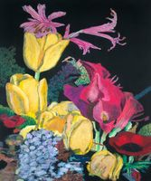 Contemporary Flower Painting Modern Canvas Arts Yellow Tulips Allan P. Friedlander Floral Oil Paintings for Office