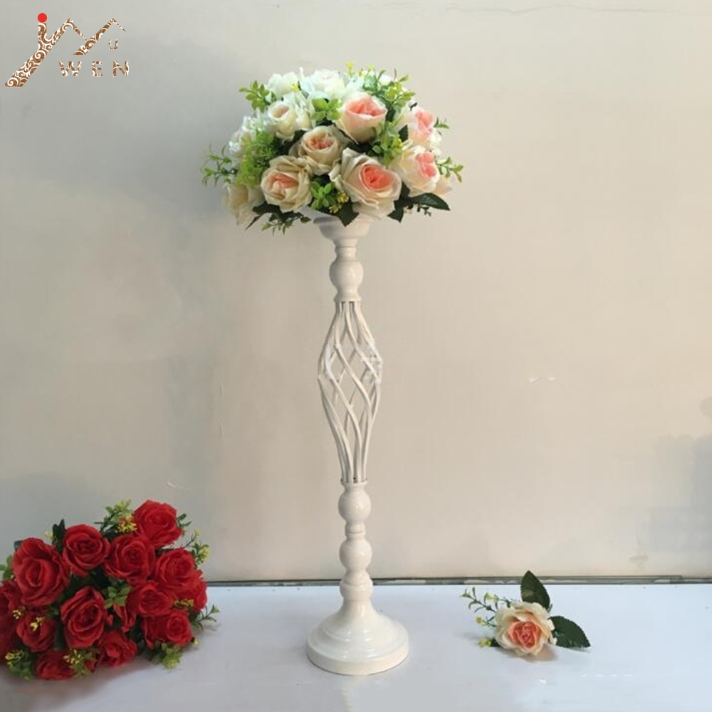Creative Hollow White Candle Holders Wedding Table Road Lead Flower Rack Home And Hotel Vases Decoration 1 Lot = 10 Pcs Home Decor