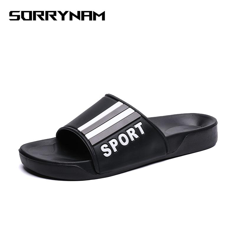 Men Slippers 2019 Summer Mens Shoes Casual Breathable Beach Sandals Slippers Wedge Black White Flip Flops Men Slides Flat
