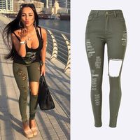 2017 Hot Women Brand Clothing Long Jeans High Waist Slim Hole Ripped Army Green Denim Pants