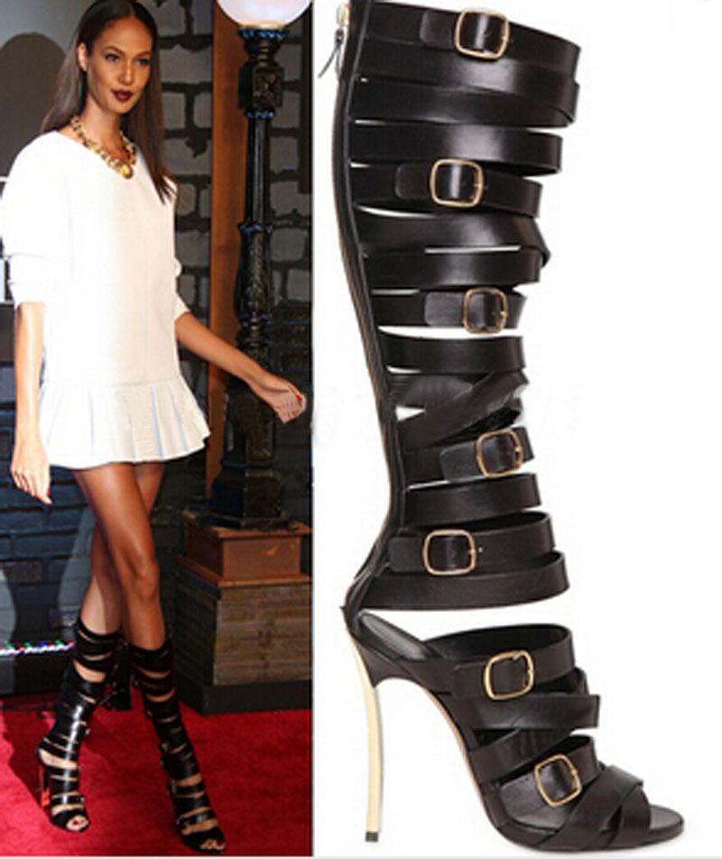 sexy lady black leather buckle straps metallic heel summer sandals open toe cut-outs high gladiator snadal bootssexy lady black leather buckle straps metallic heel summer sandals open toe cut-outs high gladiator snadal boots