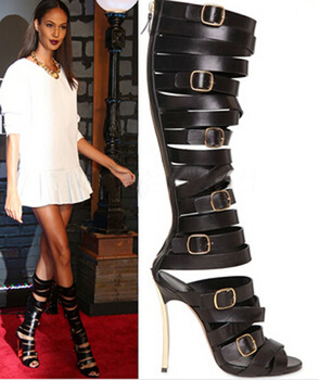 sexy lady black leather buckle straps metallic heel summer sandals open toe cut-outs high gladiator snadal boots