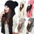 Los hombres y Las Mujeres de Invierno Sombrero de La Bufanda de Invierno Cálido Sombreros Y Bufanda Sombrero Que Hace Punto Bufandas 2 unids 5 Colores 12
