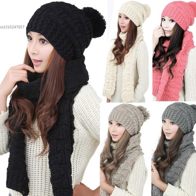 Uomini   Donne Inverno Set Sciarpa Cappello Caldo Inverno Cappelli E Sciarpa  di Lavoro A Maglia 26b56faeb011