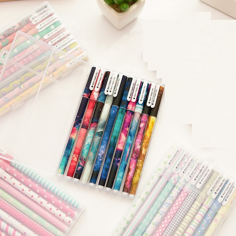 50 pcs/Lot Star pens set Cute forest animal 0.5mm roller ball black ink color pens stationery Office tools School supplies 6 pcs set color gel pen starry pattern cute kitty hero roller ball pens stationery office school supplies