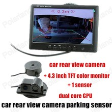 3 in 1 Parking Sensor auto Rear View Camera 4.3 inch monitor Car Monitor Can Display Distance Free Shipping 1 sensor