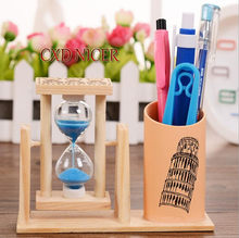 Rotary Hourglass Wood Pen Holder Stand For Pens Famous Building Office Organizer Container School Supplies(China)
