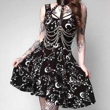 2019 Gothic Style Skater Dress Moon and Star Printed Black Short Dress Girls Dark Kawaii Dress with Low Neckline Summer Dress цена 2017