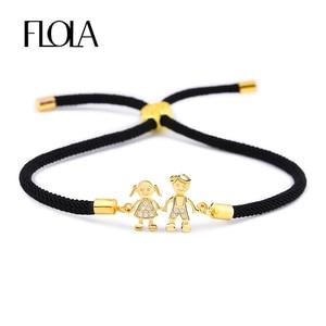 FLOLA Boy & Girl Friendship Bracelet Adjustable Black String Rope Bracelet CZ Zircon Charm Couple Bracelet Jewelry Gift brtb05(China)