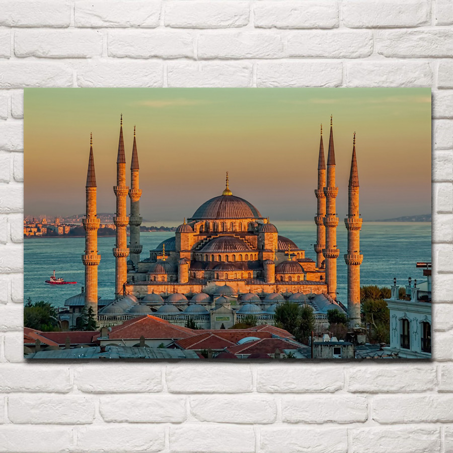 sultan ahmed mosque turkey <font><b>istanbul</b></font> morning sunrise fabric poster living room home wall decorative canvas silk art print KH246 image