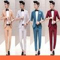 Бесплатная доставка 2016 лето мужская мода три четверти рукавом свадебное платье костюм slim fit one button Корейской 2-х частей набор мужские костюмы