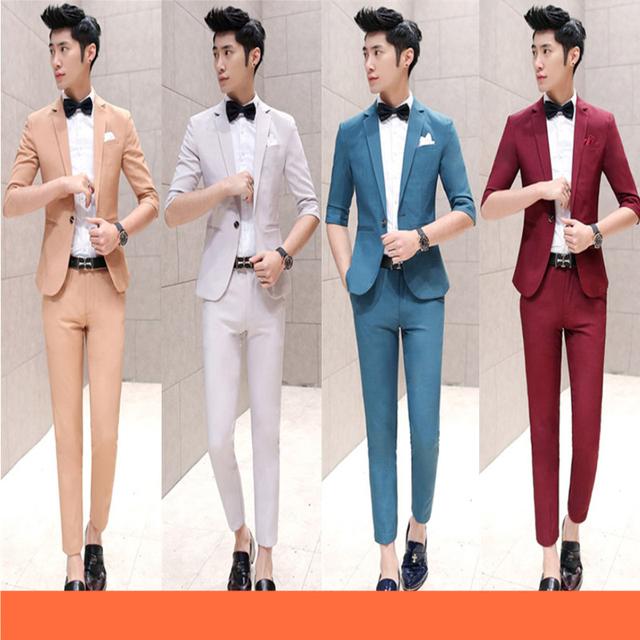 Envío gratis 2016 de verano para hombre de la moda de tres del cuarto vestido de novia traje slim fit un botón Coreano 2-piezas de este conjunto trajes para hombre