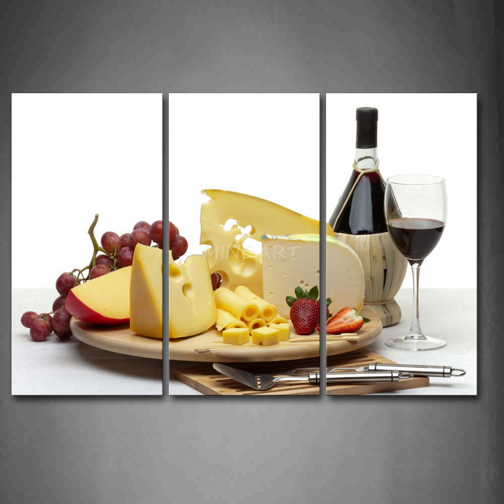 3 Piece Wall Art Painting Yellow And White Cheese With Fruit Wine ...