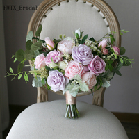 2018 New Plus Size Wedding Bridal Bouquets Elegant Light Purple Pink Irregular Country Mori Bride Bridesmaid Flowers Decoration