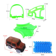 Glowing Race Track Bend Flex Glow in the Dark Assembly Car Toy Crossing/Tunnel/Arch Bridge Racing Slot Car Track for Children(China)